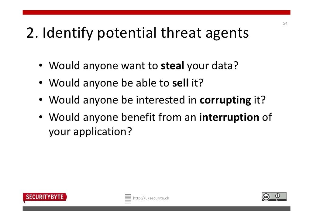 542. Identify potential threat agents •   Would anyone want to steal your data? •   Would anyone be able to sell it? •   W...