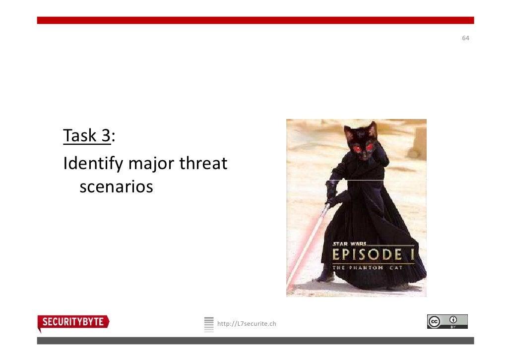 64Task 3:Identify major threat  scenarios                   http://L7securite.ch