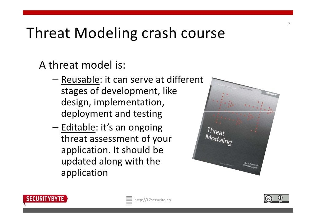 7Threat Modeling crash course A threat model is:   – Reusable: it can serve at different     stages of development, like  ...