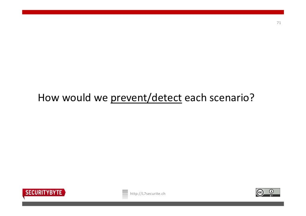 71How would we prevent/detect each scenario?                 http://L7securite.ch