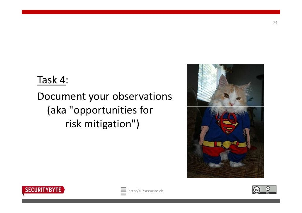 """74Task 4:Document your observations  (aka """"opportunities for      risk mitigation"""")                 http://L7securite.ch"""