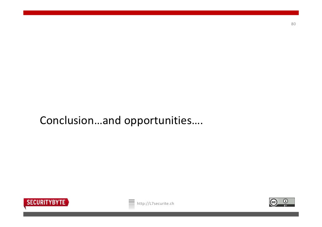 80Conclusion…and opportunities….                 http://L7securite.ch
