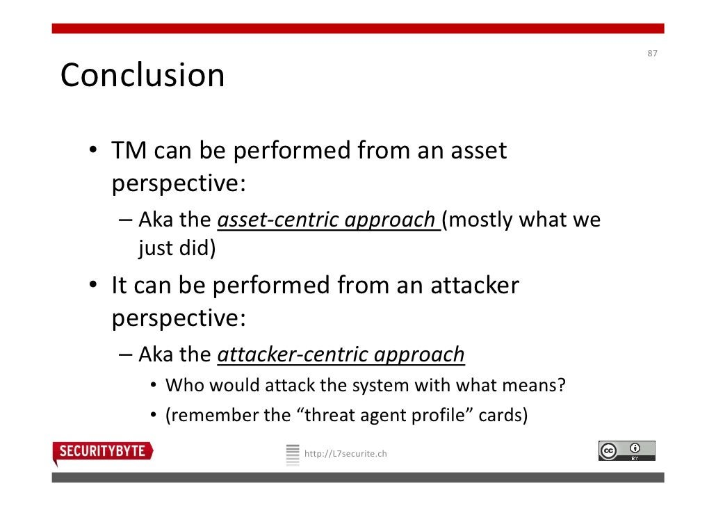 87Conclusion • TM can be performed from an asset   perspective:   – Aka the asset-centric approach (mostly what we     jus...