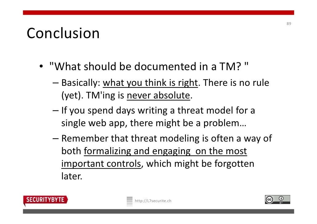 """89Conclusion • """"What should be documented in a TM? """"   – Basically: what you think is right. There is no rule     (yet). T..."""