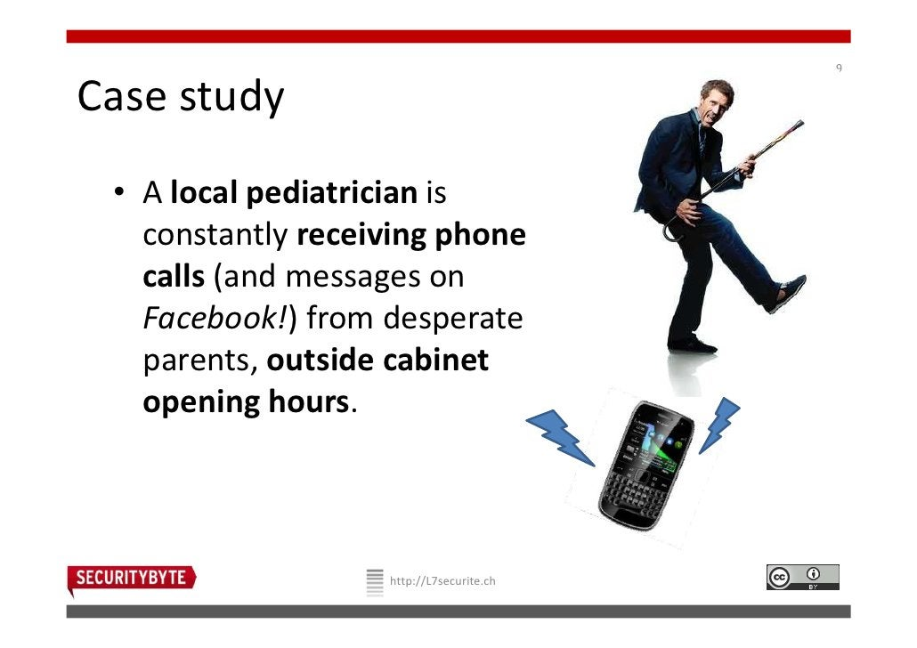 9Case study • A local pediatrician is   constantly receiving phone   calls (and messages on   Facebook!) from desperate   ...