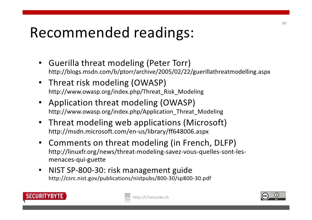 96Recommended readings: • Guerilla threat modeling (Peter Torr)   http://blogs.msdn.com/b/ptorr/archive/2005/02/22/guerill...