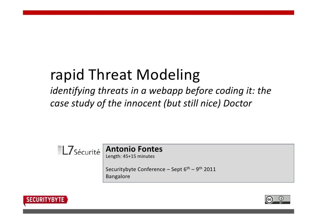 rapid Threat Modelingidentifying threats in a webapp before coding it: thecase study of the innocent (but still nice) Doct...