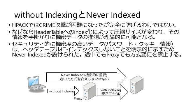without IndexingとNever Indexed • HPACKではCRIME攻撃が困難になったが完全に防げるわけではない。 • なぜならHeaderTableへのindex化によって圧縮サイズが変わり、その 情報を手掛かりに機密デ...
