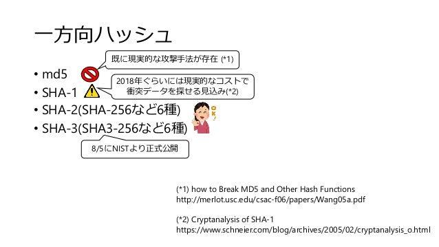 一方向ハッシュ • md5 • SHA-1 • SHA-2(SHA-256など6種) • SHA-3(SHA3-256など6種) 2018年ぐらいには現実的なコストで 衝突データを探せる見込み(*2) 既に現実的な攻撃手法が存在 (*1) (*...