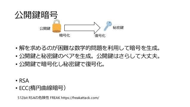公開鍵暗号 512bit RSAの危険性 FREAK https://freakattack.com/ • 解を求めるのが困難な数学的問題を利用して暗号を生成。 • 公開鍵と秘密鍵のペアを生成。公開鍵はさらして大丈夫。 • 公開鍵で暗号化し秘密...