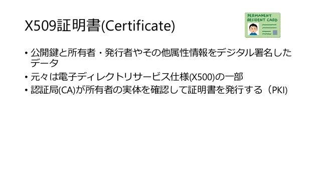 X509証明書(Certificate) • 公開鍵と所有者・発行者やその他属性情報をデジタル署名した データ • 元々は電子ディレクトリサービス仕様(X500)の一部 • 認証局(CA)が所有者の実体を確認して証明書を発行する(PKI)