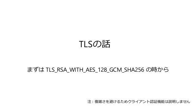 TLSの話 まずは TLS_RSA_WITH_AES_128_GCM_SHA256 の時から 注:複雑さを避けるためクライアント認証機能は説明しません
