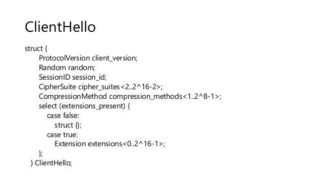 ClientHello struct { ProtocolVersion client_version; Random random; SessionID session_id; CipherSuite cipher_suites<2..2^1...