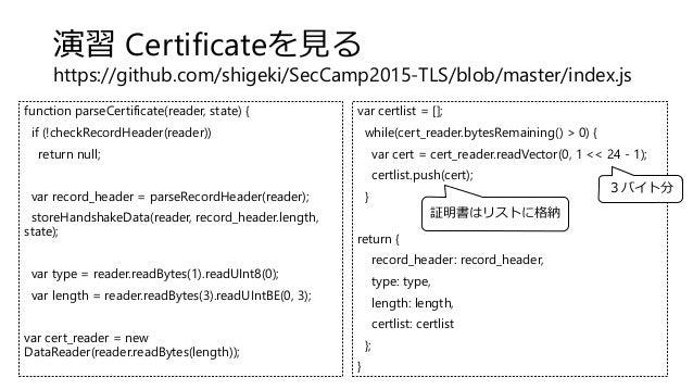 演習 Certificateを見る https://github.com/shigeki/SecCamp2015-TLS/blob/master/index.js function parseCertificate(reader, state)...