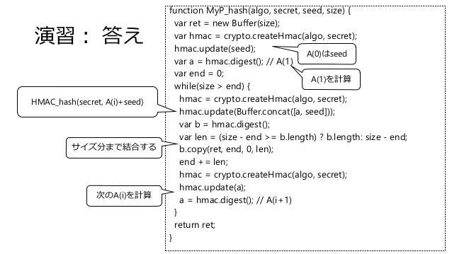 function MyP_hash(algo, secret, seed, size) { var ret = new Buffer(size); var hmac = crypto.createHmac(algo, secret); hmac...