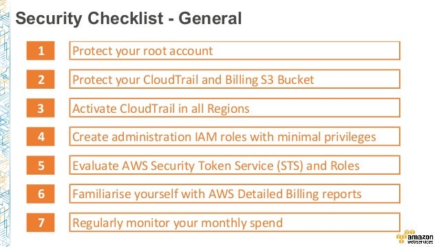 Aws security checklist for Cctv checklist template