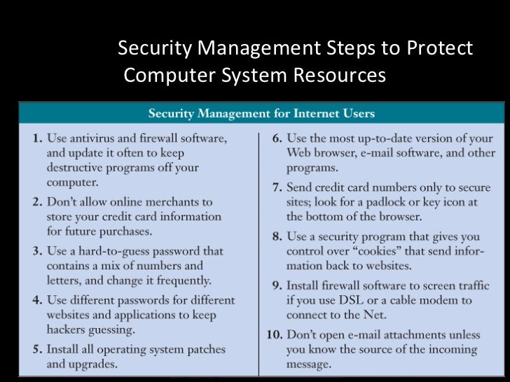 Security Amp Control In Management Information System