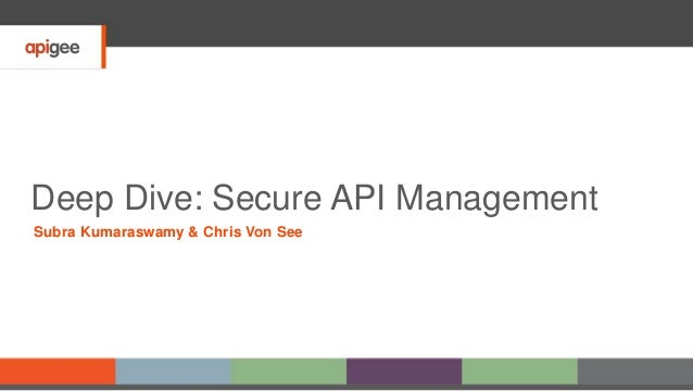 Deep Dive: Secure API Management Subra Kumaraswamy & Chris Von See