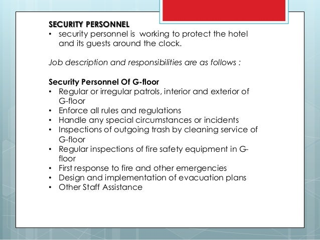 Job Description Of Security Department In Hospitality