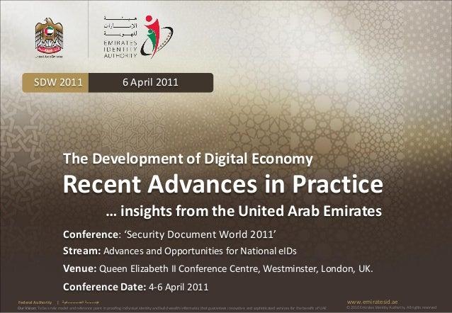 SDW 2011                                              6 April 2011                           The Development of Digital Ec...