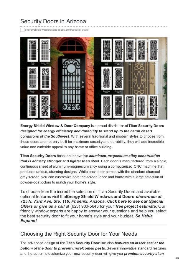 Security Doors In Arizona Energyshieldwindowsanddoors.com/security Doors  Energy Shield Window U0026 Door ...
