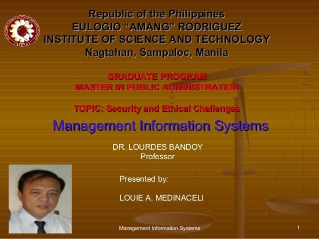 "Republic of the Philippines     EULOGIO ""AMANG"" RODRIGUEZINSTITUTE OF SCIENCE AND TECHNOLOGY       Nagtahan, Sampaloc, Man..."