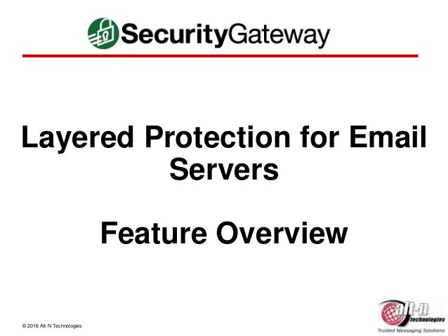 © 2016 Alt-N Technologies Layered Protection for Email Servers Feature Overview