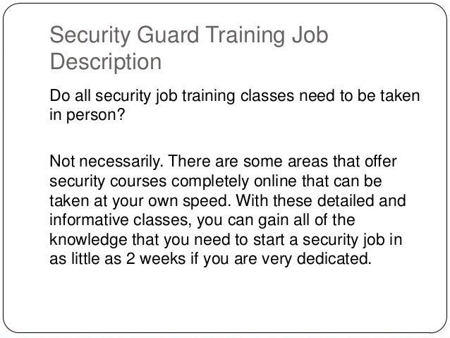 security guard descriptions