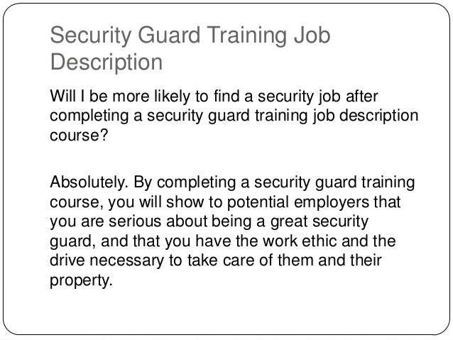 Security Guard Training Job Description