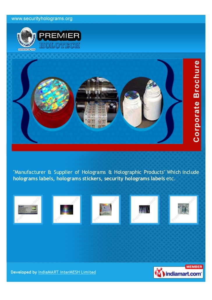 """Manufacturer & Supplier of Holograms & Holographic Products"" Which includeholograms labels, holograms stickers, security ..."