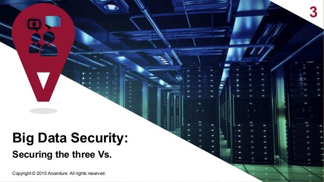 3 Securing the three Vs. 8 Big Data Security: Copyright © 2015 Accenture All rights reserved.
