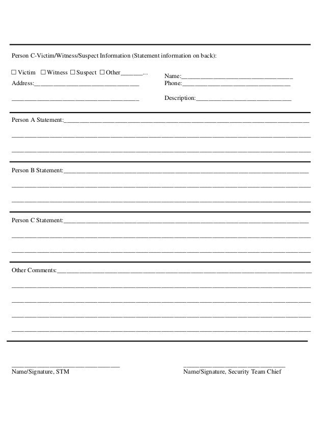 Incident Report Format  Incident Report Form Template
