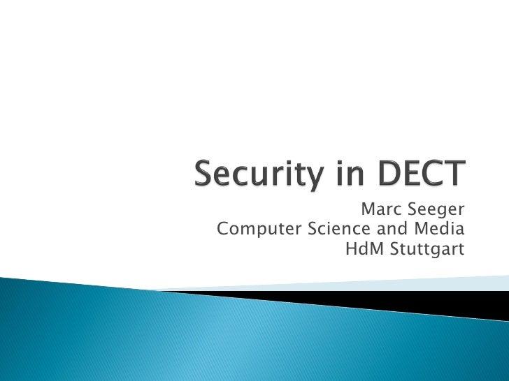 Marc Seeger Computer Science and Media              HdM Stuttgart