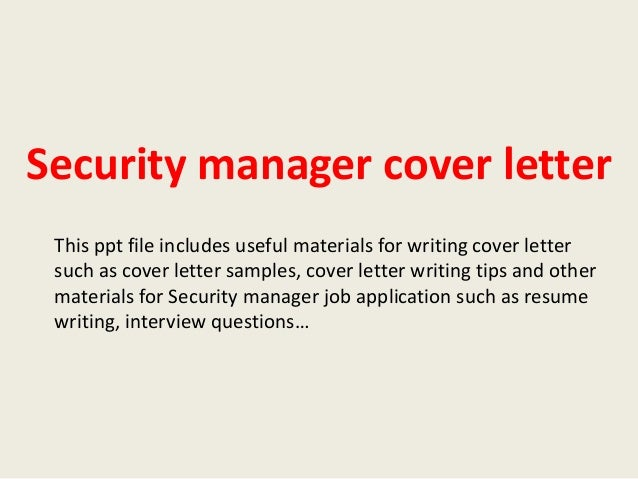 excellent and cool sample cover letter for security manager