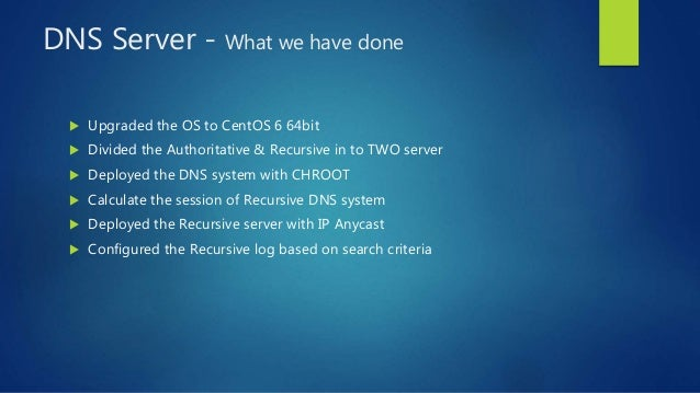 DNS Server - What we have done  Upgraded the OS to CentOS 6 64bit  Divided the Authoritative & Recursive in to TWO serve...