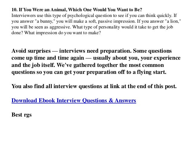 Sample psychological interview questions