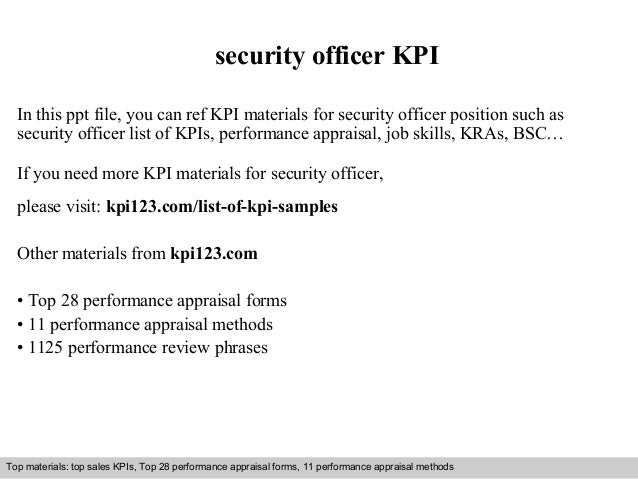 security officer KPI  In this ppt file, you can ref KPI materials for security officer position such as  security officer ...