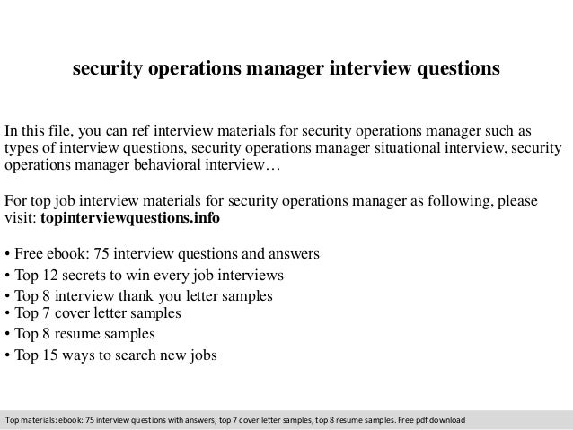 security operations manager interview questions