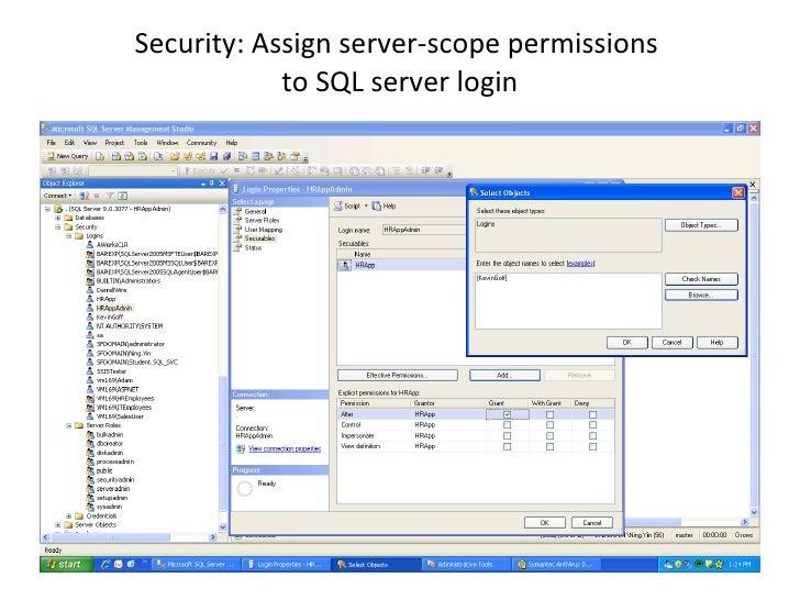 Security: Assign server-scope permissions  to SQL server login