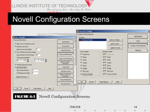 Transfo rm ing Live s. Inve nting the Future . www.iit.edu ITM 578 14 ILLINOIS INSTITUTE OF TECHNOLOGY Novell Configuratio...