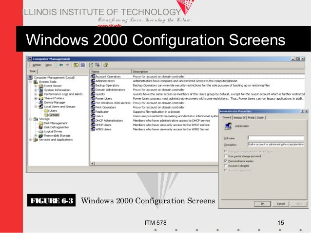 Transfo rm ing Live s. Inve nting the Future . www.iit.edu ITM 578 15 ILLINOIS INSTITUTE OF TECHNOLOGY Windows 2000 Config...