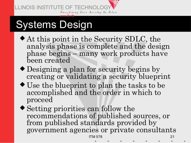 Transfo rm ing Live s. Inve nting the Future . www.iit.edu ITM 578 21 ILLINOIS INSTITUTE OF TECHNOLOGY Systems Design  At...
