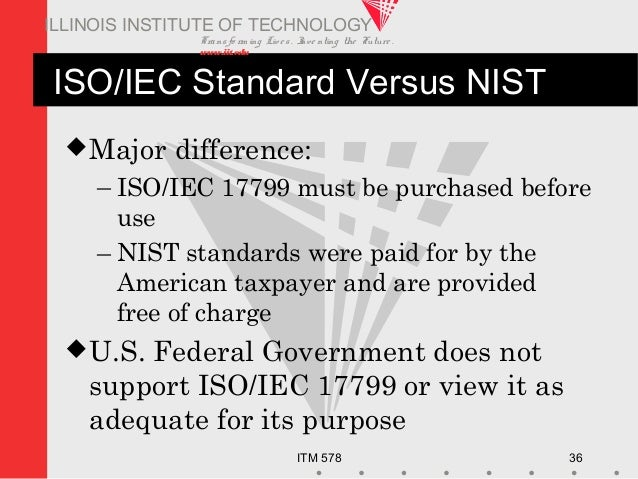 Transfo rm ing Live s. Inve nting the Future . www.iit.edu ITM 578 36 ILLINOIS INSTITUTE OF TECHNOLOGY ISO/IEC Standard Ve...