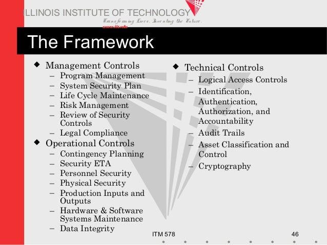 Transfo rm ing Live s. Inve nting the Future . www.iit.edu ITM 578 46 ILLINOIS INSTITUTE OF TECHNOLOGY The Framework  Man...