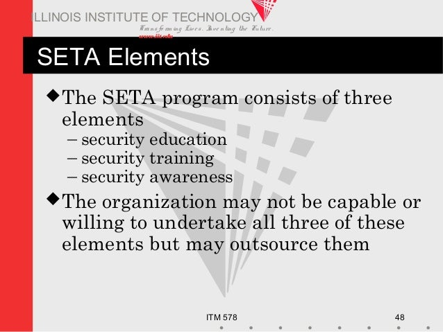 Transfo rm ing Live s. Inve nting the Future . www.iit.edu ITM 578 48 ILLINOIS INSTITUTE OF TECHNOLOGY SETA Elements The ...