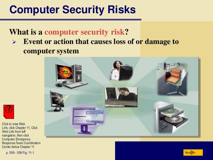 Computer Security Risks     What is a computer security risk?               Event or action that causes loss of or damage...