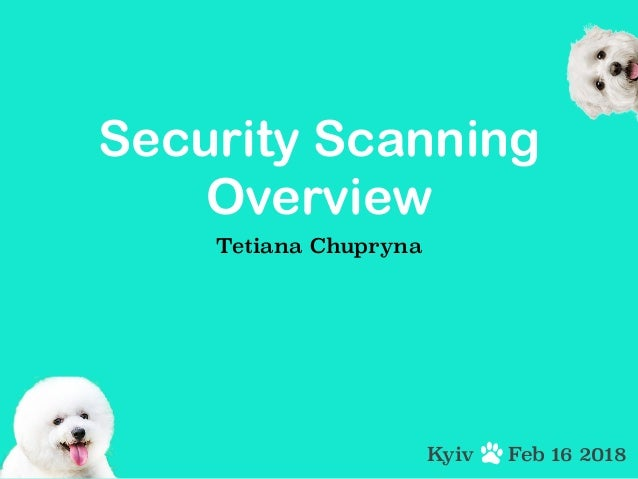 Security Scanning Overview Tetiana Chupryna Feb 16 2018Kyiv