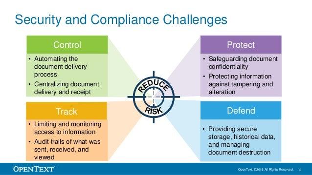 OpenText SlideShare – Mitigate Compliance Risks through secure information exchange Slide 2