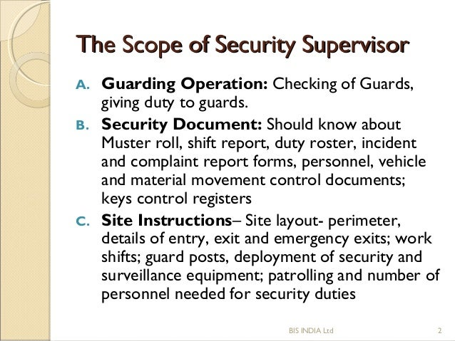 SOP Of Security Supervisor - Security guard shift schedule template