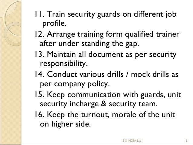 security guard supervisor job description